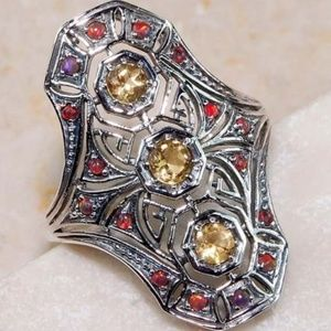Jewelry - 2CT Citrine & Opal 925 Silver Ring Size 6